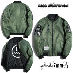 Men Embroidered Air Jacket Zipper MA1 Army Flight Bomber Mil