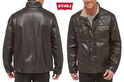 Men LEVI Faux Leather Full Zip Sherpa Lined Bomber Motorcycl