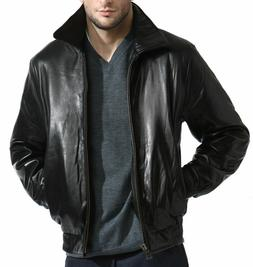 Men's Black Lambskin Leather Bomber Jacket Zip out Liner XL