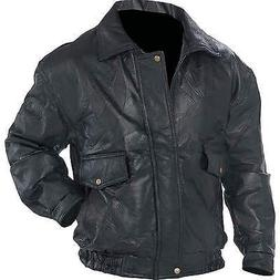 Men's Bomber Style Jacket Genuine Leather  Black by Napoline