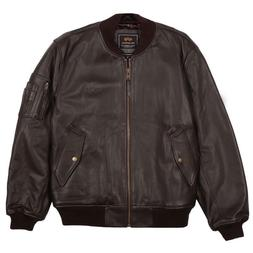 Alpha Industries Men's Brown MA-1 Leather Flight Bomber Jack