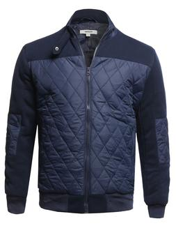 FashionOutfit Men's Casual Long Sleeves Zip Up Quilted High