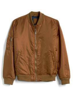 GAP Men's Classic Souvenir Bomber Jacket Front Zip Chestnut