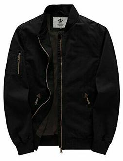 WenVen Men's Fall Cotton Casual Military Bomber Jacket