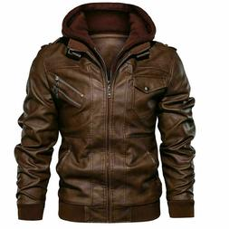 Men's Genuine Real Leather Jacket Brown Bomber Winter Hooded