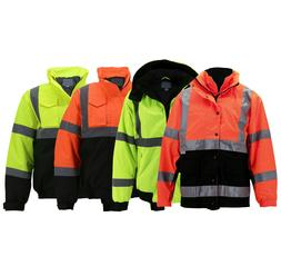 Men's Hi-Vis Insulated Neon Reflective Weather Resistant Roa