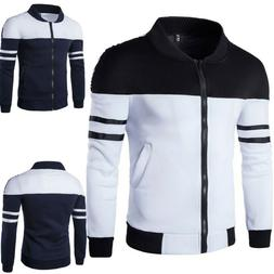 Men's Jacket Casual Zipper Sportswear Patchwork Long Sleeve