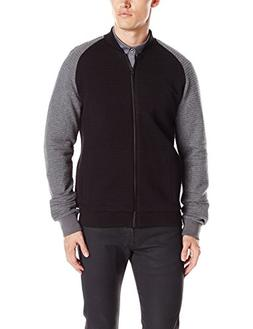 Kenneth Cole REACTION Men's Knit Textured Bomber, Black, Med