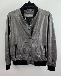 Kenneth Cole Reaction Men's Metallic Bomber Jacket Gunmetal