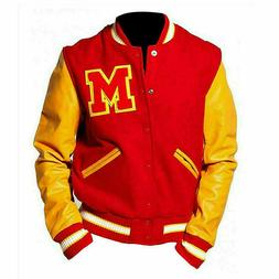 Men's MJ Thriller Michael Jackson Red M Logo Varsity Letterm