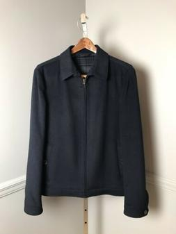 Ted Baker Men's Navy Blue Wool Blend Zip Front Jacket Coat S