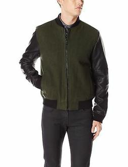 Kenneth Cole REACTION Men's Plthr Wool Bomber, Caper Combo,