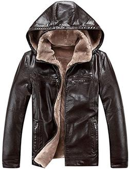 Tanming Men's Premium Thicken Fur PU Leather Jacket With Hoo