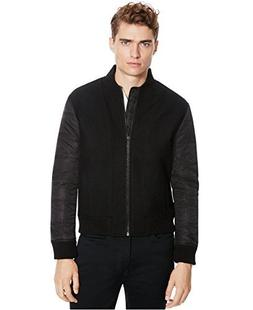 Kenneth Cole Reaction Men's Quilted Bomber Jacket, Black Com