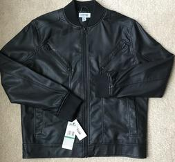 Kenneth Cole Reaction Men's Seamed Faux Leather Bomber Jacke