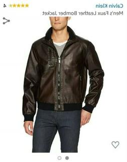 Calvin Klein Men's Size MEDIUM Brown Faux Leather Bomber Jac