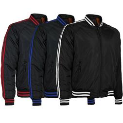 Men's Slim Fit Striped Zip Up Water Resistant Flight Bomber