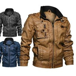 Men's Tactical Stand collar Leather Jacket Motorcycle Bomber