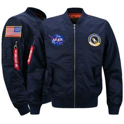 Men's Thick Jacket US NASA  Warm Winter MA1 Flight Bomber Co