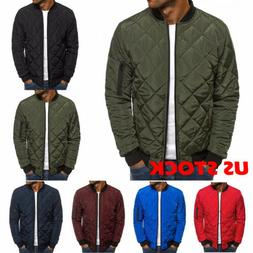 S-2XL Men's Winter Puffer Bubble Down Jacket Coat Bomber Qui