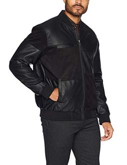 Members Only Men's Vegan Leather and Suede Bomber, Black, M