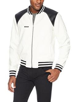 Members Only Men's Vegan Leather Bomber, White, Extra Large