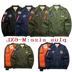 Men's Warm Winter US NASA MA1 Flight Bomber Coat Thick Jacke