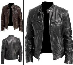 Men Vintage Cool Motorcycle Jacket Leather Long Sleeve Stand