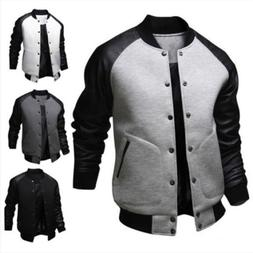 Men Winter Casual Varsity Baseball Long Sleeve Jacket Coat B