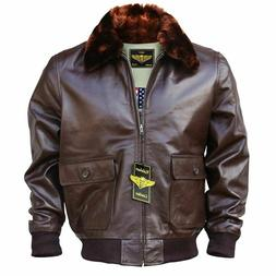 Men WWII Navy G-1 Genuine Leather Flight Bomber Jacket With