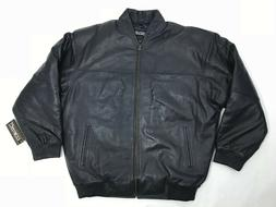 MENS GENUINE LEATHER BASEBALL JACKET BOMBER NAVY BLUE    M L