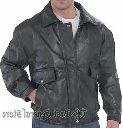 Mens Black Patchwork Leather Fully Lined Bomber Flight Coat