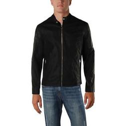 Kenneth Cole Reaction Mens Black Winter Coat Bomber Jacket O