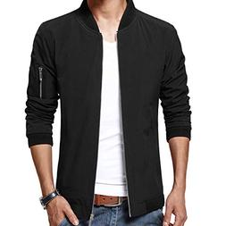 LTIFONE Mens Casual Jacket Zip Up Lightweight Bomber Flight