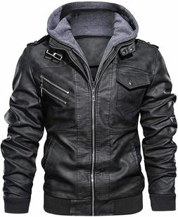 Casual Stand Collar Leather Zip-Up Biker Fashion Bomber Jack