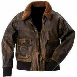 Mens G-1 Aviator Distressed Brown Lambskin Leather Bomber Ja