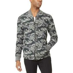 Kenneth Cole Reaction Mens Gray Camouflage Bomber Jacket Out