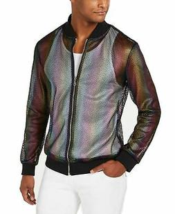 INC Mens Jacket Black Size 3XL Rainbow Full-Zip Mesh Flight/
