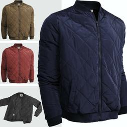 Mens BOMBER JACKET Flight Quilted Padded Zip Up Puffer Outwe
