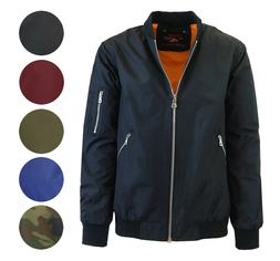 Mens Lightweight Bomber Jacket Full Zip Pockets Colors Camo