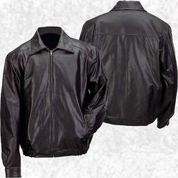 Mens Lined Solid Black Genuine Leather Bomber Style Casual J