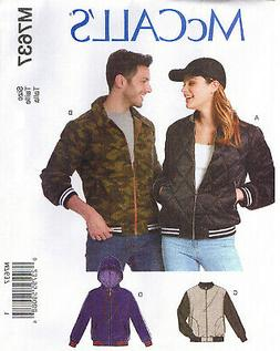 Mens Misses Unisex Bomber Jackets Hood McCalls 7637 Sewing P
