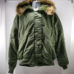 NEW Alpha Industries Mens N-2B Bomber Jacket Green Parka Fly