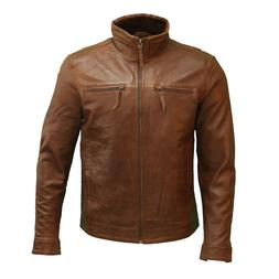 Mens New Chestnut Brown Italian Leather Classic Casual Long