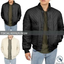Mens Quilted PUFFER JACKET Padded Bomber Windbreaker Coat Ca