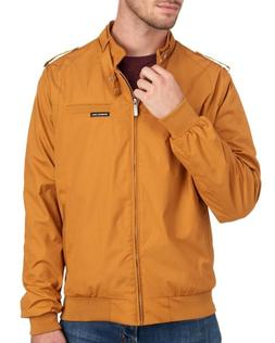 Members Only Mens Size L Wheat Dark Yellow Iconic Bomber Jac