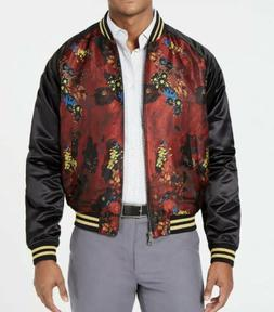 mens slim fit metallic floral jacquard bomber