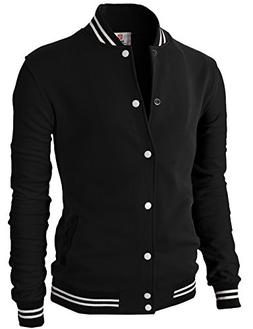 H2H Mens Premium Slim Fit Bomber Button Front Cotton Lightwe