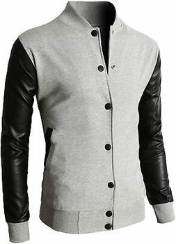 H2H Mens Slim Fit Varsity Baseball Bomber Jacket of Various