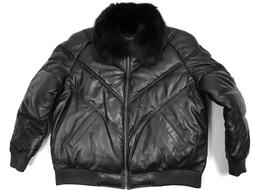 MENS GENUINE LEATHER V BOMBER JACKET FOX FUR COLLAR LAMBSKIN